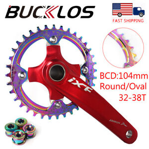 104BCD 30-38T Colorful Narrow Wide Chainring MTB Bike Single Sprocket Crank Bolt