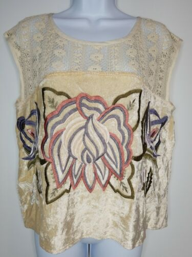 Free People Bohemian Style Embroidered Top Womens
