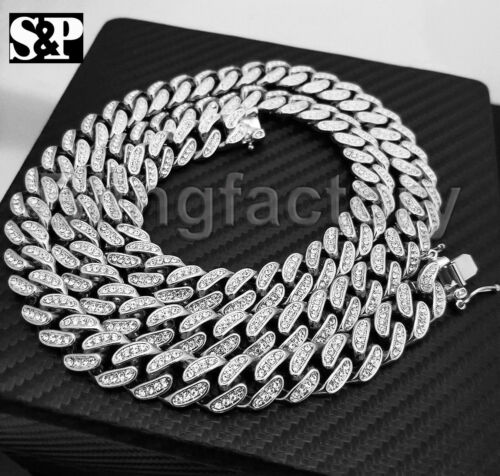 """Full Iced Out White Gold PT 12mm 18/"""" 20/"""" 22/"""" 30/"""" Miami Cuban chain Necklace"""