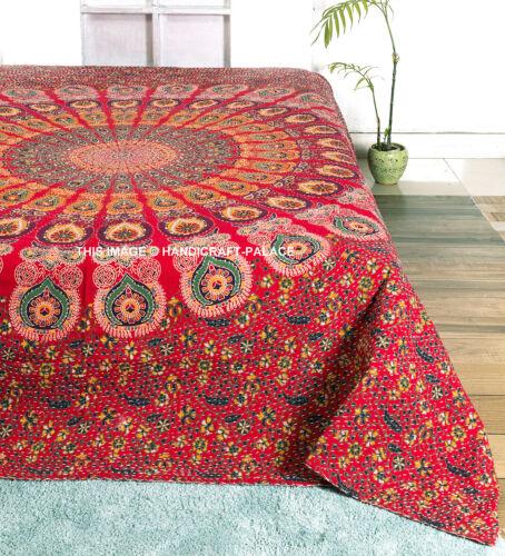 Indian Peacock Mandala Cotton Blanket Kantha Quilt Queen Throw Bedding Bedspread
