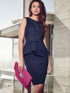 Gorgeous-Navy-Blue-Lace-Peplum-Cocktail-Evening-Formal-Womens-Dress-Size-8-12