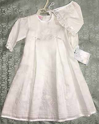 Vintage Will'beth Baptism Christening Gown Outfit 0-3 M Bonnet Linen Embroidered Baby & Toddler Clothing