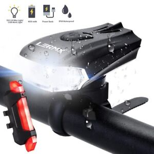 MTB-Bike-Bicycle-Cycling-USB-Rechargeable-LED-Head-Front-Light-Rear-Tail-Lamp-UK