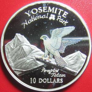 1997-COOK-ISLANDS-10-SILVER-PROOF-COLOR-PEREGRINE-FALCON-YOSEMITE-NATIONAL-PARK