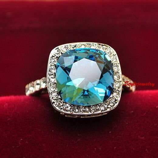 95ef6cefc Details about White Gold Plated Blue Topaz Engagement Ring Made With Swarovski  Crystal R154