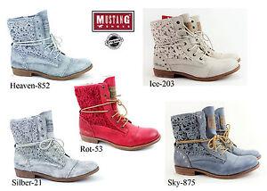 e561372b691a17 Das Bild wird geladen Neu-Mustang-Damenschuhe-Sommer-Schnuer-Stiefel-Schuhe- Booty-