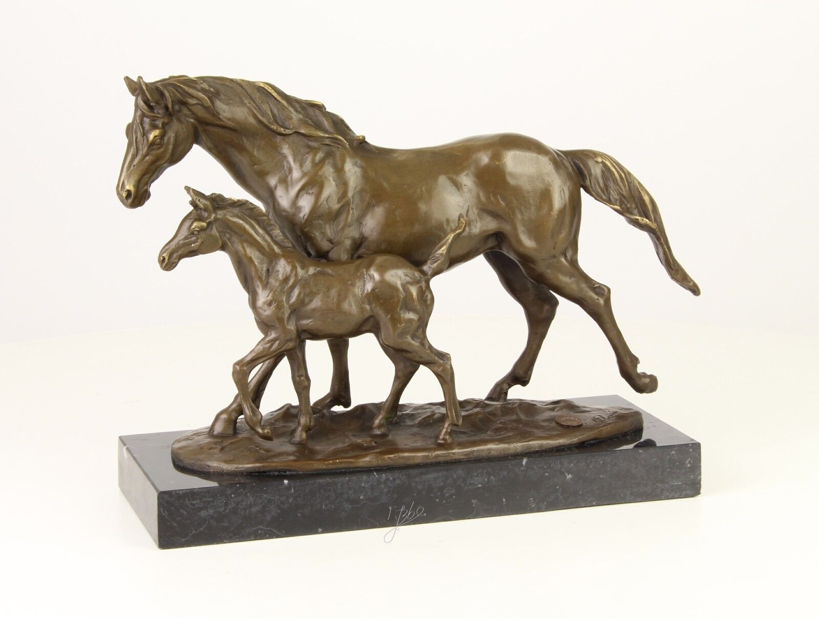 Bronze-Skulptur Pferd Stute mit Fohlen neu 9973256-dsp