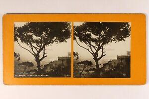 Italia Napoli Vista Prise Da Saint-Martino c1900 Foto Stereo Vintage Analogica