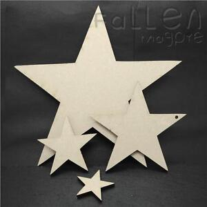 Details About Wooden Star Shapes Embellishments Craft Mdf Wood Hole Tags Blanks