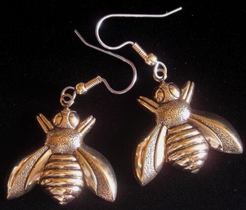 Bee Earrings 24 Karat Gold Plate Napoleonic Motif Bumble Honey Bees Keeyper