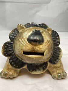 Vintage 1970's Otagiri Japan Pottery Lion Coin Bank  Modern Piggy Bank
