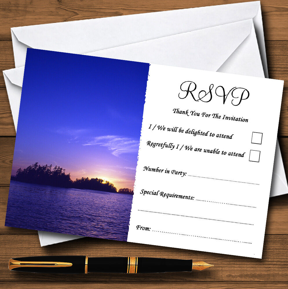 Beautiful Blau lila Sunset Beach Personalised Wedding or Party RSVP Cards