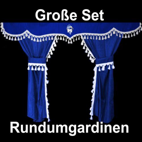 XXL Passform Gardinen Vorhänge Fenstergardinen Blau//Weiß 6Teile LKW MAN TGA XL