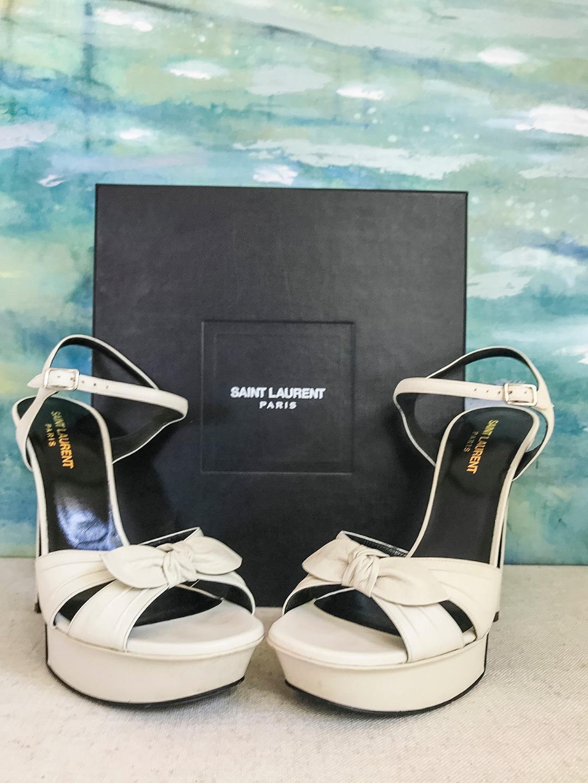 945 YVES SAINT LAURENT Bianca Ivory Leather Bow Platform Heels Sandals SZ 40.5