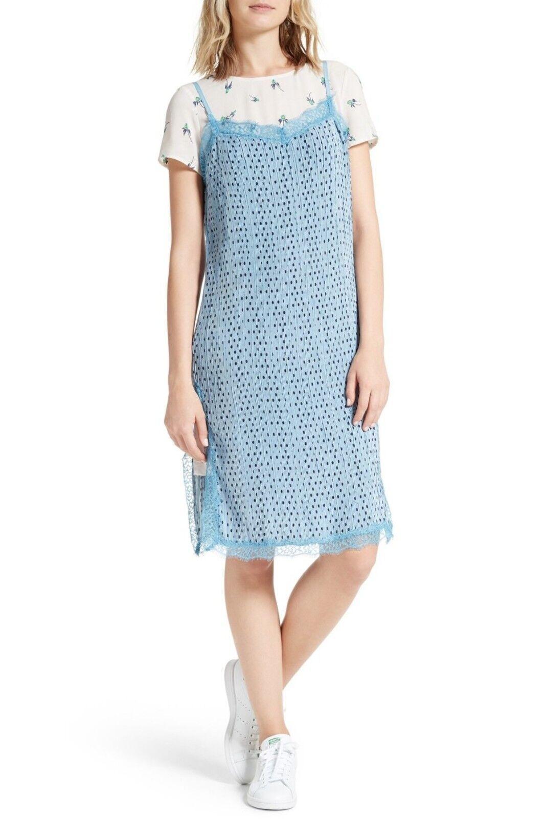 Free People Margot Slip Dress & Tee 2-Piece Set Blau 6 Nwt
