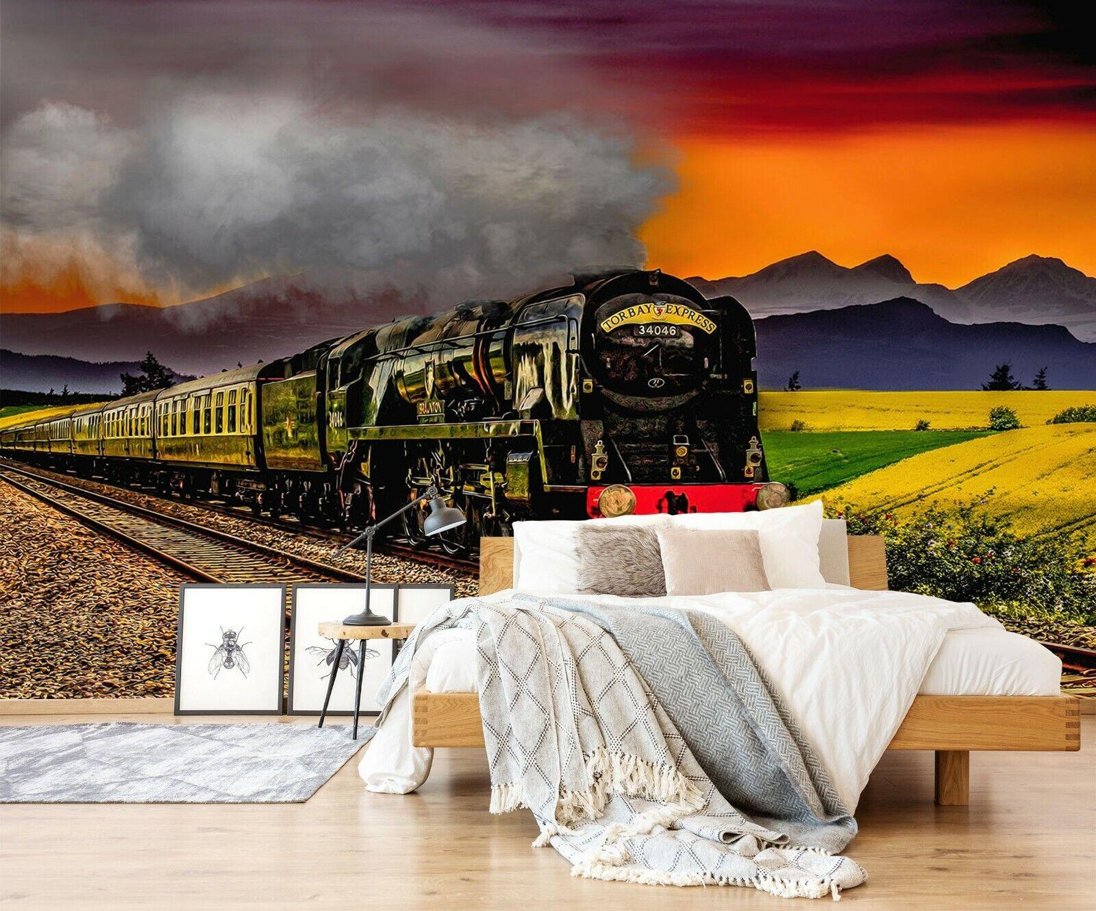 3D Schwarzer Zug O29 Auto Tapete Wandbild Selbstklebend Abnehmbare Angelia