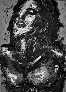 Nude painting black and white woman, ebony pussy art
