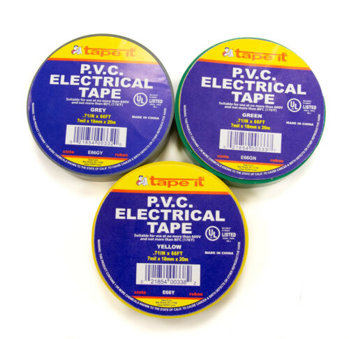 """COLORED  ELECTRICAL TAPE E66AC 100 RLS .71/"""" X 66 FT"""