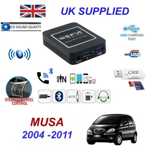 For Lancia Musa Bluetooth Telephone Streaming AUX Input 2 x USB SD Card Reader