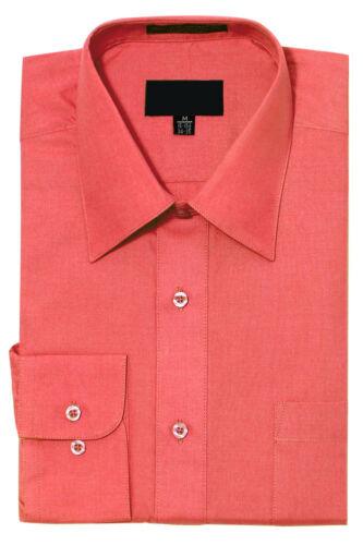 19 Colors NEW Men/'s Regular Fit Long Sleeve Solid Color Dress Shirts