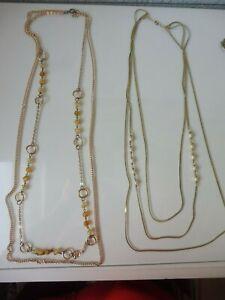 2-schone-alte-lange-Halsketten-vergoldet-mit-Perlen-und-Steinen