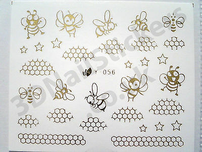 Busy Bees Honey Stars 3D Nail Art Water Decals Transfers Y056 Gold