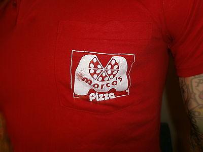Bello Vintage Marco's Pizza Polo Dipendente Delivery Guy Rosso Abbigliamento Sportivo