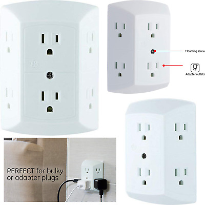 New 6 Oval 6 Outlet Wall Apapter Electric Wallmount Tap Power UL Listed