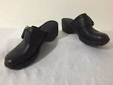 BORN Mules Slip-On Clogs Shoes Black Leather Side Buckle Size 6/36.5