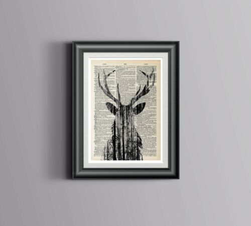 Nature art Book page Stag Head Print Dictionary Encyclopedia Art vintage A3
