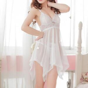 Conjunto-lenceria-sexy-ropa-interior-mujer-ropa-dormir-vestido-babydoll-Blanc-R2