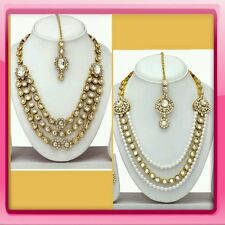 Designer Gold Plated Diamond kundan Necklace Earring Jewelery set combo of 2 set