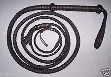 10 foot  8 plait TARGET BULL WHIP-BLACK LEATHER (real bullwhip)