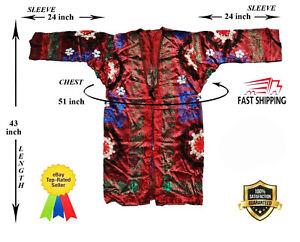 Vintage-Uzbek-Silk-Suzani-Multicolor-Embroidery-Robe-Dress-SALE-WAS-149-00