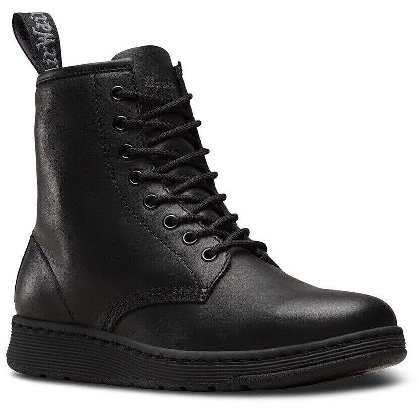 Dr. Martens Newton 8-Eye Mono Black Temperley Leather Boots 23093001 SALE