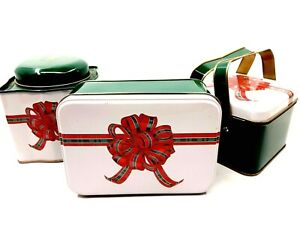 Three Assorted Christmas Holiday Basket Tins Green, White, & Red w/ Bows