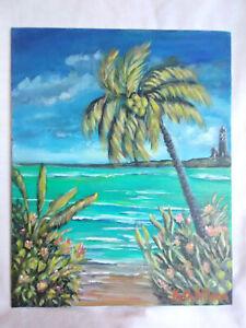 Original-Acrylic-Painting-8-x10-Canvas-Panel-Tropical-Beach-Hide-Away