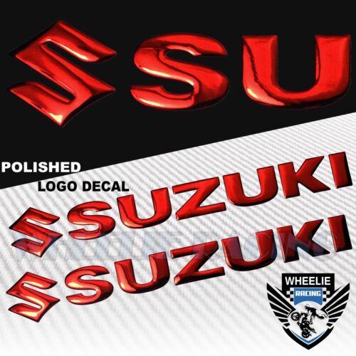 "CHROMED RED PRO GRIP FUEL TANK PAD+8/"" SUZUKI LOGO+LETTER FAIRING EMBLEM STICKER"