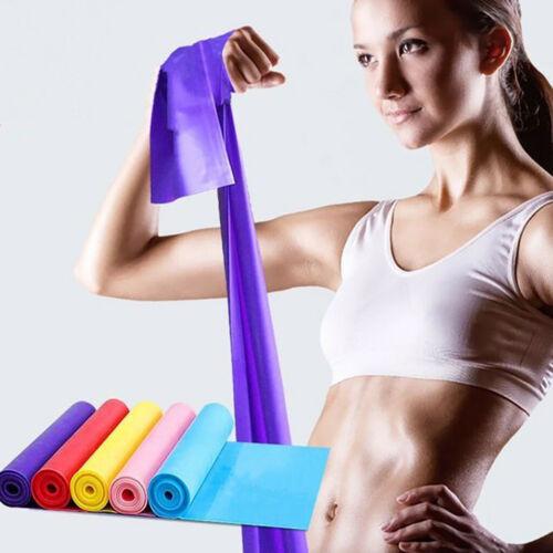 Elastic Yoga Pilates Stretch Resistance 1.5m Long Exercise Fitness Band Belt.