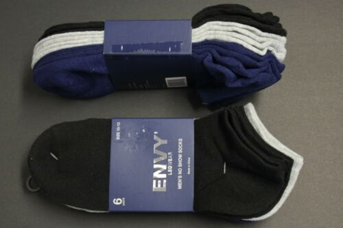 6 Pair/'s Low Ankle Socks Mes/'s 10-13 Black Gray Navy Green fit sz 9-12