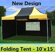 10' x 15' Pop Up Canopy Party Tent Gazebo EZ - Black Yellow - E Model