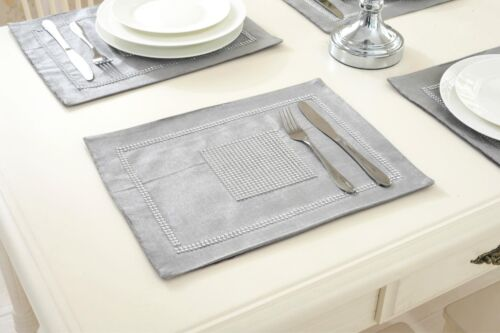 Silver Table Runner Set Cushion Chenille Placemat for Wedding Venue Dinner Room