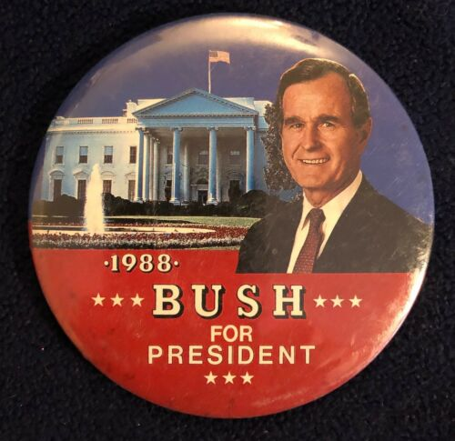 """1988 George H.W Bush for President Election Campaign Pinback 3 1//2/"""""""
