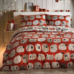 Fusion-DOTTY-SHEEP-CHRISTMAS-Bedding-Xmas-Quilt-Duvet-Cover-Bed-Set-Red-White