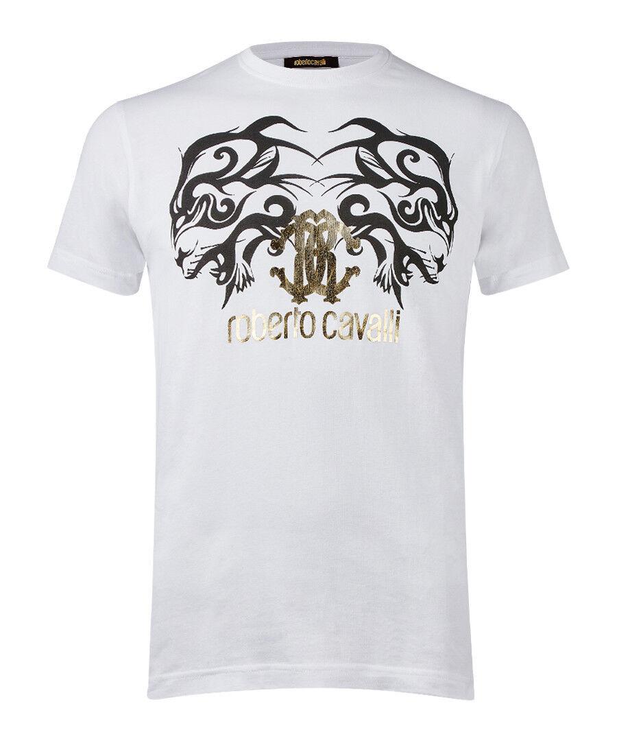 Roberto CAVALLI Bianco Puro Cotone Motivo T-Shirt Taglia M Prezzo Consigliato