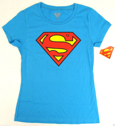 SUPERMAN SHIELD LOGO T-shirt DC Comics Baby Doll Tee JUNIORS Large Blue NWT