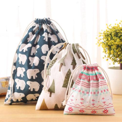 Drawstring Printed Storage Bag Cotton Linen Travel Pouch Organizer Supplies