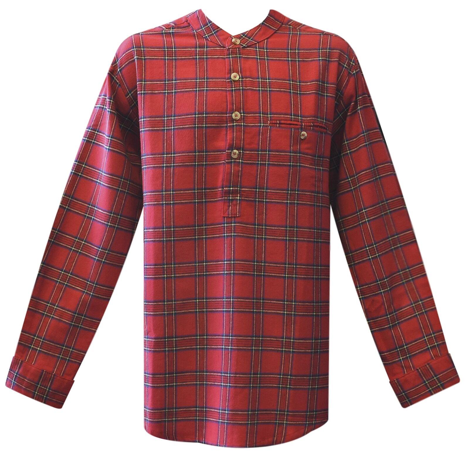 Lee Valley - Men's Genuine Irish Cotton Flannel Grandfather Shirt - Red - Large