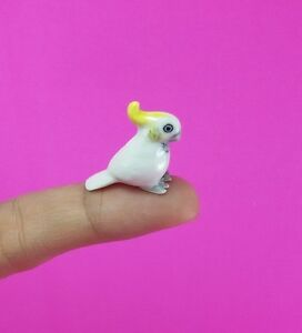 Miniature-Mini-Figurine-Cockatoo-Bird-Collectible-Ceramic-Handmade-Wild-Animals