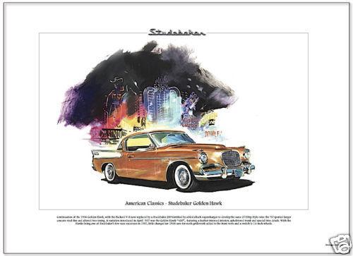 American Classics - STUDEBAKER GOLDEN HAWK  Fine Art Print - Steel Fins Two-Tone